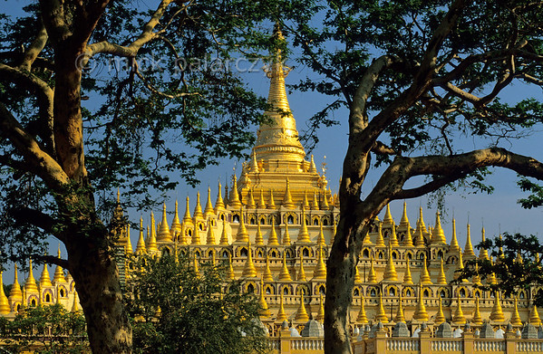[BURMA 24.995] 'Thanboddhay Temple.'  	South of Monywa, the central stupa of the Thanboddhay Temple, built in the middle of the 20th century, has receding terraces covered by 864 smaller stupas. Photo Mick Palarczyk.