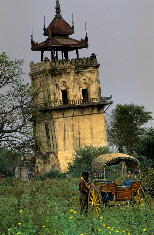 [BURMA 25.013] 'Leaning tower at Inwa.'  	At Inwa, the ruined royal city south of Mandalay, the leaning Nanmyin watchtower is the only remnant of the royal palace. Photo Mick Palarczyk.