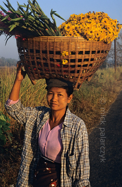 [BURMA 24.746] 'Carrying flowers.'  	North of Taungoo a woman is on her way to sell flowers at the market. Photo Mick Palarczyk.