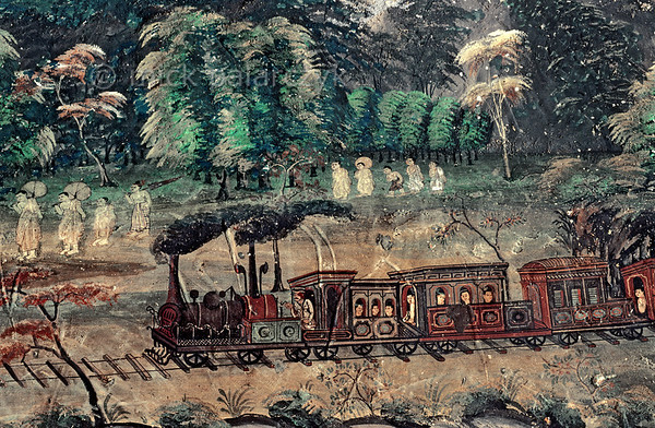 [BURMA 25.092] 'Locomotive.'  	A British locomotive is puffing through the Burmese landscape in this 19th century fresco at the southern entrance porch of the Mahamuni Pagoda in Mandalay. Photo Mick Palarczyk.