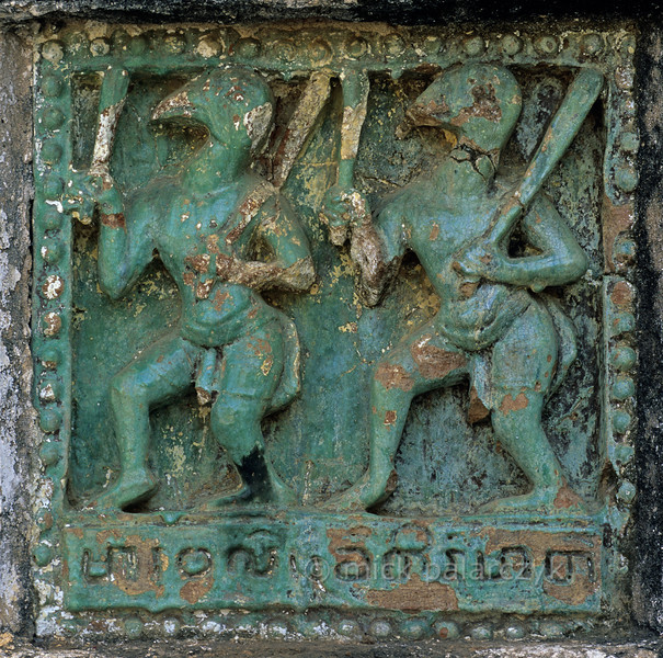 [BURMA 24.898] 'Bird-headed soldiers.'  	At Bagan a Jataka-tile from the plinth of the 12th century Ananda Temple displays bird-headed soldiers from the Army of Mara (the Buddhist Satan) which is said to have attacked Buddha while he was dreaming. Photo Mick Palarczyk.