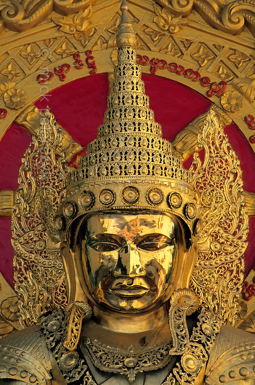 [BURMA 24.703] 'Golden Buddha.'  	Golden Buddha image in the precinct of Yangon's Botataung temple complex. Photo Mick Palarczyk.