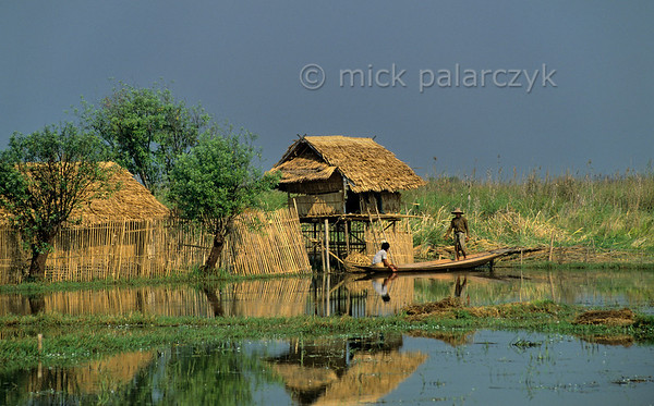 [BURMA 24.798] 'Fisherman's hut.'  	Stilted fisherman's hut in the Inle Lake, near the lake-side village of Maing Thauk, south of Nyaungshwe. Photo Mick Palarczyk.