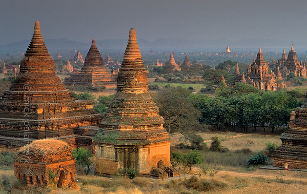 [BURMA 24.933] 'Bagan plain seen from Minyeingon Temple.'  The  Bagan plain seen from the Mineingon Temple, looking to the south-east. In the distance the golden dome of the Dhammayazika Stupa can be seen. Photo Mick Palarczyk.