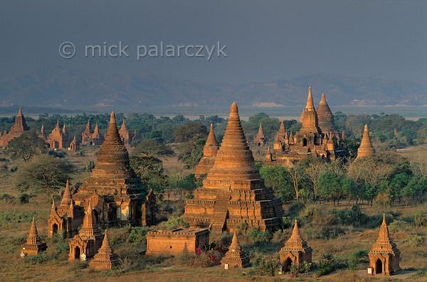 [BURMA 24.927] 'Bagan plain and Irrawaddy River.'  The Bagan plain and the Irrawaddy River seen from the top of the Shwesandaw Stupa, looking west. Photo Mick Palarczyk.