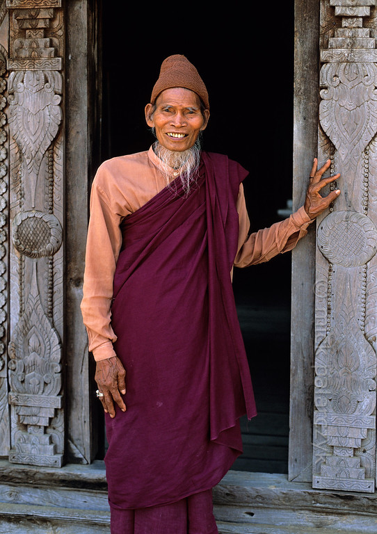 [BURMA 24.957] 'Monk in Pakhangyi.'  	Monk in the monastery of Pakhangyi, on the west bank of the Irrawaddy River. Photo Mick Palarczyk.