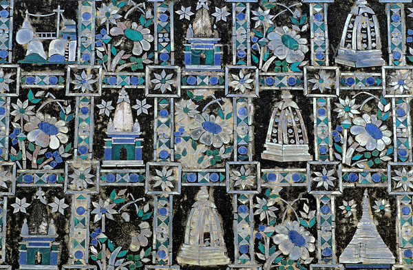 [BURMA 24.989] 'Mosaic work.'  	Mosaic work covers the domes and spires of a pagoda near the Thanboddhay temple complex, south of Monywa. (See image 24.985). Photo Mick Palarczyk.