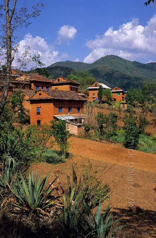 [NEPAL.KATHMANDUVALLEY 27373] 'Tilesworgoan.'  	The village of Tilesworgoan, in the Lele Valley south of Patan, is made up of high brick houses with brightly coloured window shutters. Photo Mick Palarczyk.