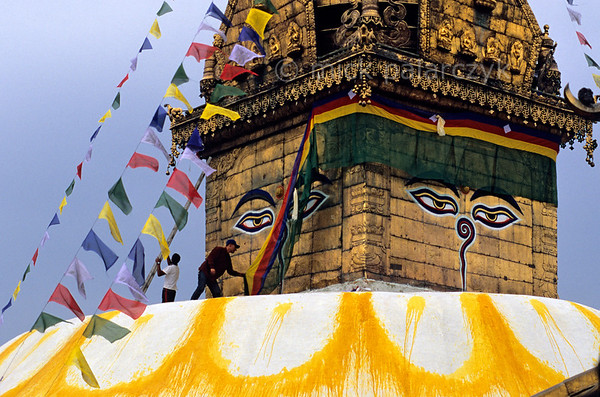 [NEPAL.KATHMANDUVALLEY 27211] 'Decorating Swayambhu stupa.'  	Watched over by the all-seeing eyes of Adi-Buddha (primordial Buddha) temple guards are attending to the central stupa of Swayambhu, at the western outskirts of Kathmandu. The eyes are attached to the gold gilded cube (harmika) that surmounts the stupa. Photo Mick Palarczyk.