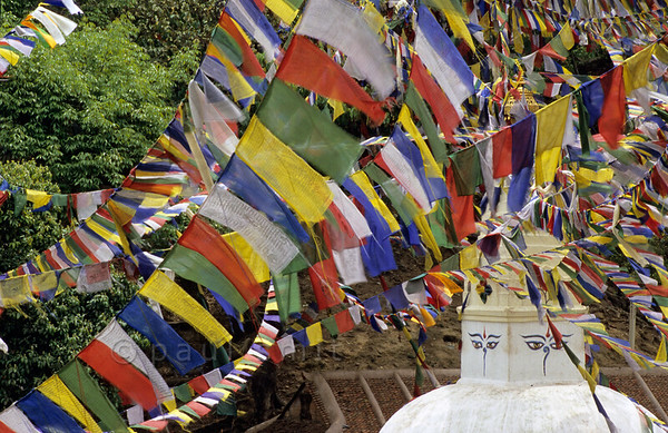 [NEPAL.KATHMANDUVALLEY 27241] 'Prayer flags at Manjushri Hill.'  	Near Swayambhu, west of Kathmandu, prayer flags surround the stupas at Manjushri Hill. Photo Paul Smit.