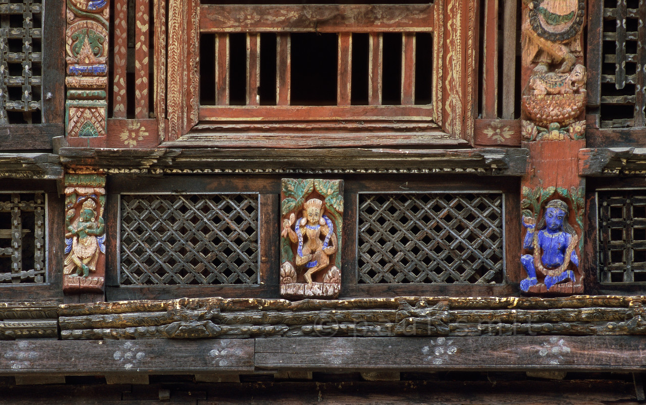[NEPAL.KATHMANDUVALLEY 27319] 'Decorations at the Sundari Chowk in Patan.'  Decorations in the Sundari Chowk courtyard of Patan's Royal Palace. The courtyard holds the Tusha Hiti, the 17th century sunken royal bath, within its walls. Photo Paul Smit.