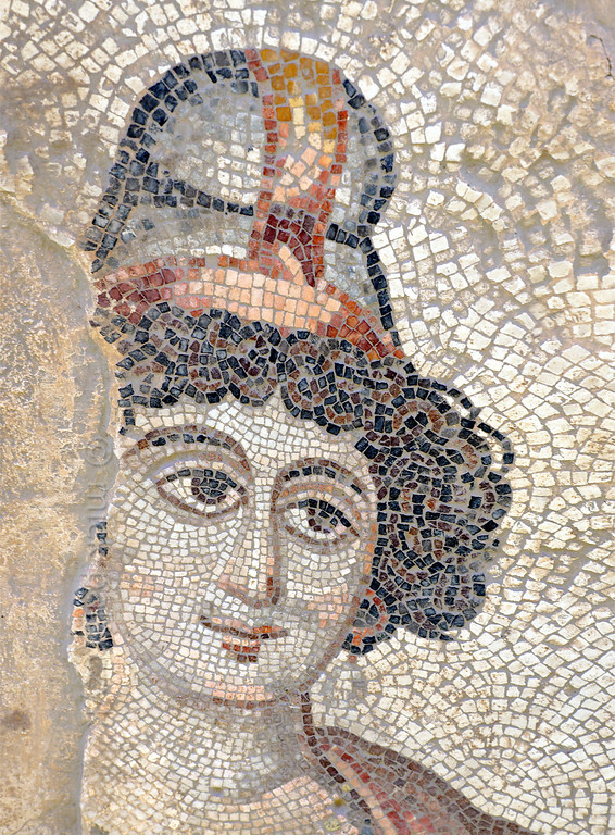 """[TURKEY.EAST 29270] 'Antiope, Amazon in Byzantine mosaic in Urfa.'  Wearing a Phrygian cap, the Amazon Antiope (a warrior queen in Greek Mythology) is part of a large hunting scene with several animals and other Amazons. The 5/6 th century floor mosaic can be found in the """"Villa of the Amazons"""", a palatial house, that probably belonged to an important administrator of the Eastern Roman (Byzantine) Empire, who lived in Edessa (nowadays called Urfa). The remains of the villa were discovered in 2006 near the center of Urfa. Photo Mick Palarczyk."""