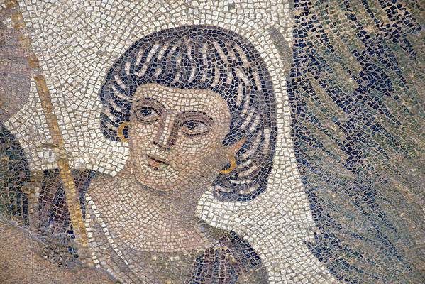 """[TURKEY.EAST 29292] 'Portrait in Byzantine mosaic in Urfa.'  A large mosaic in the ancient town of Edessa shows several scenes from the life of the Greek warrior Achilles. This detail shows a servant of Thetis, the mother of Achilles. The 5/6 th century floor mosaic can be found in the """"Villa of the Amazons"""", a palatial house, that probably belonged to an important administrator of the Eastern Roman (Byzantine) Empire, who lived in Edessa (nowadays called Urfa). The remains of the villa were discovered in 2006 near the center of Urfa. Photo Mick Palarczyk."""