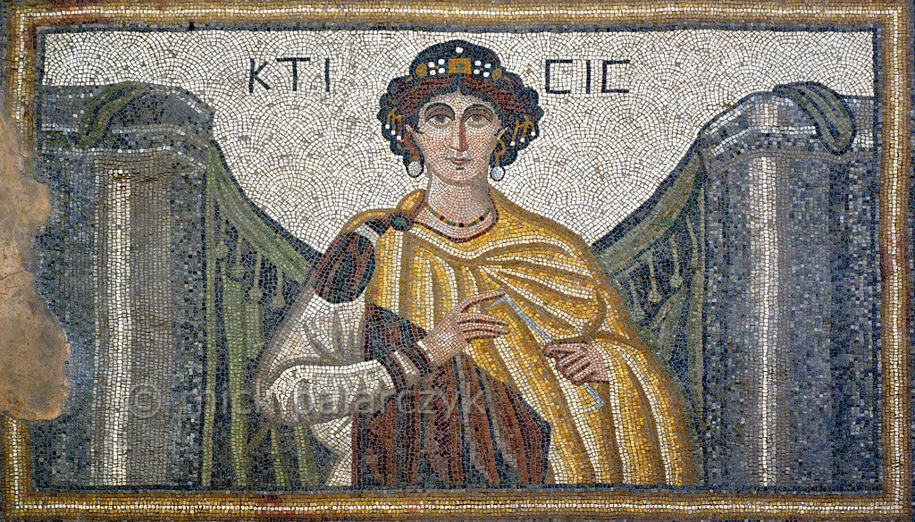 """[TURKEY.EAST 29287] 'Goddess Ktisis in Byzantine mosaic in Urfa.' Ktisis, goddess of the foundation of buildings and cities, and personification of generosity and donation is depicted here holding a measuring rod. The 5/6 th century floor mosaic can be found in the """"Villa of the Amazons"""", a palatial house, that probably belonged to an important administrator of the Eastern Roman (Byzantine) Empire, who lived in Edessa (nowadays called Urfa). The remains of the villa were discovered in 2006 near the center of Urfa. Photo Mick Palarczyk."""
