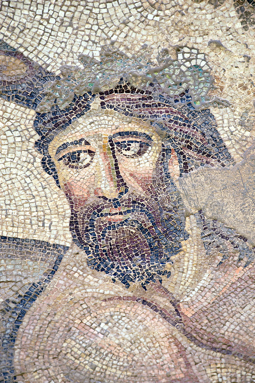 "[TURKEY.EAST 29291] 'Centaur in Byzantine mosaic in Urfa.'  	A large mosaic in the ancient town of Edessa shows several scenes from the life of the Greek warrior Achilles. Here we see the wise centaur Chiron who is said to have educated the young Achilles. The 5/6 th century floor mosaic can be found in the ""Villa of the Amazons"", a palatial house, that probably belonged to an important administrator of the Eastern Roman (Byzantine) Empire, who lived in Edessa (nowadays called Urfa). The remains of the villa were discovered in 2006 near the center of Urfa. Photo Mick Palarczyk."
