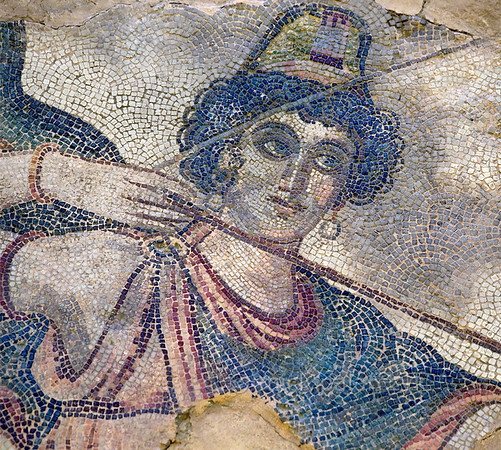 """[TURKEY.EAST 29284] 'Penthesilea, Amazon in Byzantine mosaic in Urfa.'  Wearing a Phrygian cap, the Amazon Penthesilea (a warrior queen in Greek Mythology) is about to send an arrow in a hunting scene with several animals and Amazons. The 5/6 th century floor mosaic can be found in the """"Villa of the Amazons"""", a palatial house, that probably belonged to an important administrator of the Eastern Roman (Byzantine) Empire, who lived in Edessa (nowadays called Urfa). The remains of the villa were discovered in 2006 near the center of Urfa. Photo Mick Palarczyk."""