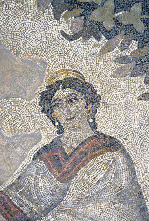 "[TURKEY.EAST 29294] 'Achilles' mother in Byzantine mosaic in Urfa.'  	A large mosaic in the ancient town of Edessa shows several scenes from the life of the Greek warrior Achilles. This detail shows Thetis, the sea-goddess who was Achilles' mother. The 5/6 th century floor mosaic can be found in the ""Villa of the Amazons"", a palatial house, that probably belonged to an important administrator of the Eastern Roman (Byzantine) Empire, who lived in Edessa (nowadays called Urfa). The remains of the villa were discovered in 2006 near the center of Urfa. Photo Mick Palarczyk."