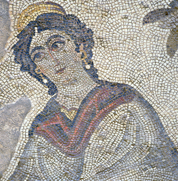 """[TURKEY.EAST 29295] 'Achilles' mother in Byzantine mosaic in Urfa.'  A large mosaic in the ancient town of Edessa shows several scenes from the life of the Greek warrior Achilles. This detail shows Thetis, the sea-goddess who was Achilles' mother. The 5/6 th century floor mosaic can be found in the """"Villa of the Amazons"""", a palatial house, that probably belonged to an important administrator of the Eastern Roman (Byzantine) Empire, who lived in Edessa (nowadays called Urfa). The remains of the villa were discovered in 2006 near the center of Urfa. Photo Mick Palarczyk."""