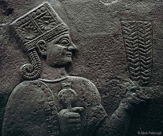 [TURKEY.CENTRAL 26989 'Kubaba.'  	Kubaba, holding an ear of wheat in her left hand, was the patron goddess of Carchemish, the Hittite city where this relief, dating from about 850 -750 BC was found as part of the so-called Long Wall. The relief is currently in the Museum of Anatolian Civilizations in Ankara. Photo Mick Palarczyk.