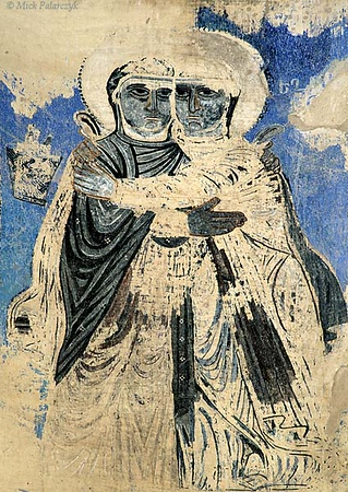 [TURKEY.EAST 27949] 'Embracing saints on Akdamar Island.'  	Two saints clutch each other as if afraid of fading into the background for good. Fresco in the interior of the 10th century Armenian Cathedral of the Holy Cross on Akdamar, a small island in Lake Van. Photo Mick Palarczyk.