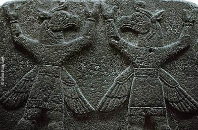 [TURKEY.CENTRAL 26987 'Winged griffins.'  Winged griffins carry the firmament on a relief that was once part of the Herald's Wall in the Hittite city of Carchemish. The relief, dating from the 8th century BC, is currently in the Museum of Anatolian Civilizations in Ankara. Photo Mick Palarczyk.