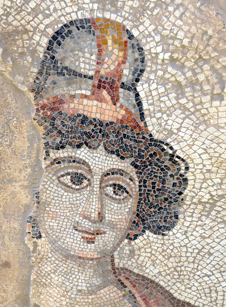 "[TURKEY.EAST 29270] 'Antiope, Amazon in Byzantine mosaic in Urfa.'  	Wearing a Phrygian cap, the Amazon Antiope (a warrior queen in Greek Mythology) is part of a large hunting scene with several animals and other Amazons. The 5/6 th century floor mosaic can be found in the ""Villa of the Amazons"", a palatial house, that probably belonged to an important administrator of the Eastern Roman (Byzantine) Empire, who lived in Edessa (nowadays called Urfa). The remains of the villa were discovered in 2006 near the center of Urfa. Photo Mick Palarczyk."