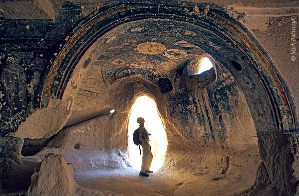 [TURKEY.CENTRAL 26870 'Church of the Three Crosses-1.'  	The Cappadocian Callidere Valley, north of Göreme, harbours the Byzantine Church of the Three Crosses, which has been carved into the soft tuff. Photo Mick Palarczyk.