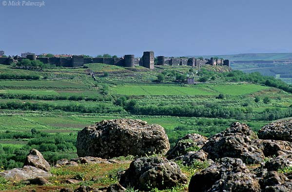 [TURKEY.EAST 27894] 'Townwall of Diyarbakir.'  The black basalt walls of ancient Diyarbakir tower above the green fields in the Tigris valley. Although the foundations are Roman the present structure dates from the 11th century. Photo Mick Palarczyk.