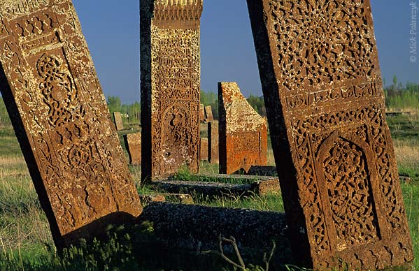 [TURKEY.EAST 27909] 'Slanting headstones.'  	At the Seljuk cemetery of Ahlat, on the western shore of Lake Van, lichen-covered headstones of red volcanic tuff have been set at all angles by earthquakes, wind and water. The ca. 8000 steles, which can reach a height of 4 meter, date from the 12th and 13th century and are covered with intricate web patterns. Photo Mick Palarczyk.