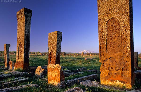 [TURKEY.EAST 27902] 'Ahlat cemetery in evening sun-2.'  	At the Seljuk cemetery of Ahlat, on the western shore of Lake Van, lichen-covered headstones of red volcanic tuff glow in the evening sun. The ca. 8000 steles, which can reach a height of 4 meter, date from the 12th and 13th century and are covered with intricate web patterns. On the horizon the snowcapped volcanic cone of Süphan Dag can be seen. Photo Mick Palarczyk.