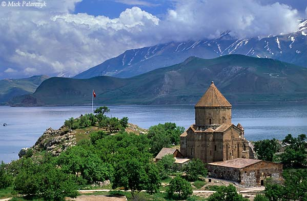 [TURKEY.EAST 27923] 'Akdamar Island-1.'  	Akdamar is a small island in Lake Van situated about 3 km from the southern shore. Its principal building is the Cathedral of the Holy Cross, built around 915 AD by king Gacik I Artsruni of the Armenian Vaspurakan kingdom who established one of his residences on the island. Photo Mick Palarczyk.