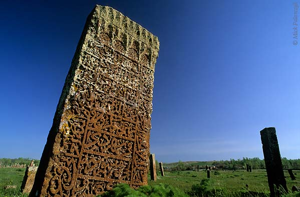 [TURKEY.EAST 27913] 'Headstone in Ahlat-1.'  	At the Seljuk cemetery of Ahlat, on the western shore of Lake Van, a lichen-covered headstone of red volcanic tuff is one of the ca. 8000 steles that occupy this huge graveyard. Photo Mick Palarczyk.