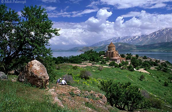 [TURKEY.EAST 27922] 'View of Akdamar Island-2.'  	Akdamar is a small island in Lake Van situated about 3 km from the southern shore. Its principal building is the Cathedral of the Holy Cross, built around 915 AD by king Gacik I Artsruni of the Armenian Vaspurakan kingdom who established one of his residences on the island. Photo Mick Palarczyk.