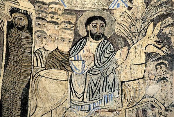 [TURKEY.EAST 27945] 'Christ entering Jerusalem on Akdamar Island.'  	After having resuscitated Lazarus (visible in his tomb to the left) Christ triumphantly enters Jerusalem on his donkey during Passover. Wall painting in the interior of the 10th century Armenian Cathedral of the Holy Cross on Akdamar, a small island in Lake Van. Photo Mick Palarczyk.