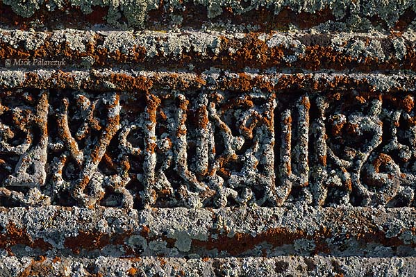 [TURKEY.EAST 27905] 'Lichen covered Kufic inscription-1.'  	An inscription in the Kufic alphabet has been overgrown with white and red lichens. The lettering can be found on a mid12th century sarcophagus in the Seljuk cemetery of Ahlat, on the western shore of Lake Van. Photo Mick Palarczyk.
