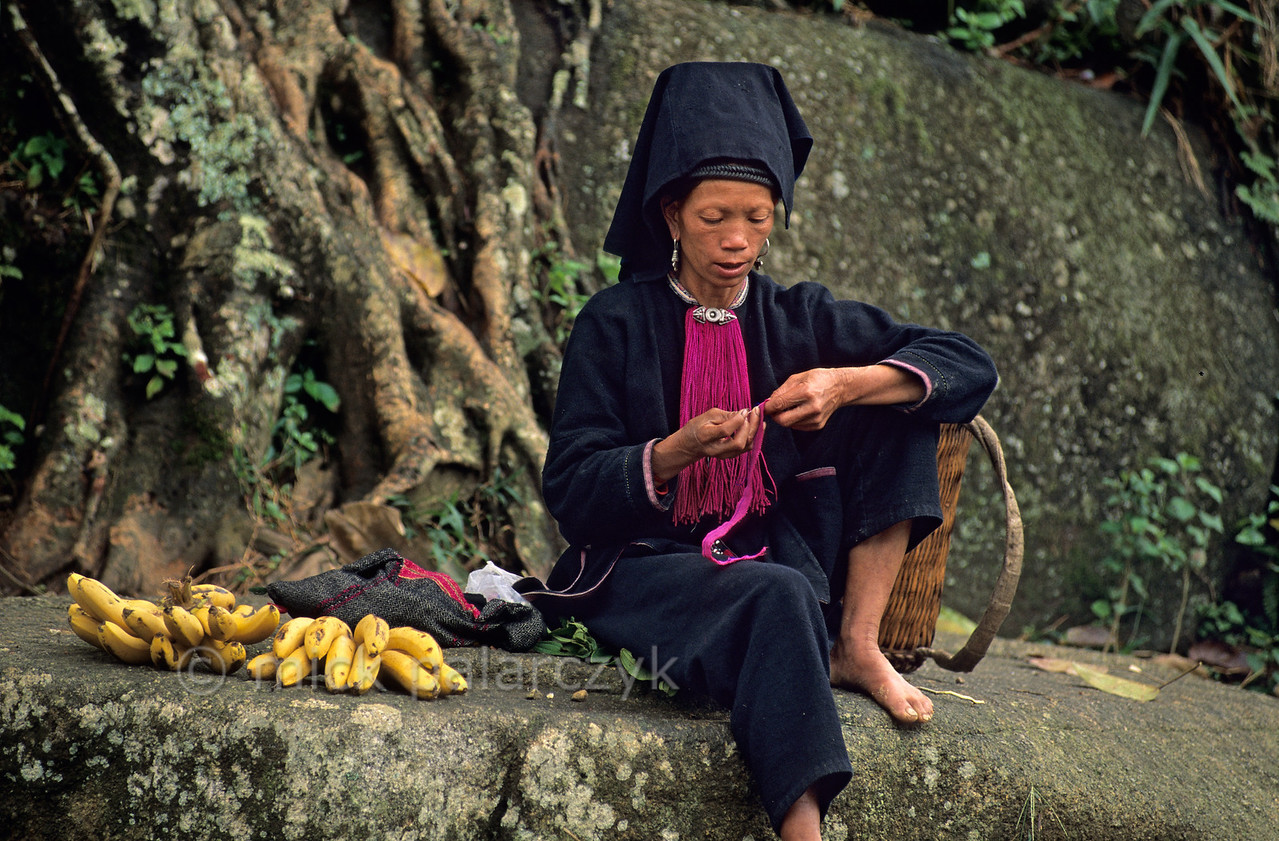 [VIETNAM.NORTH 21.394] 'Sewing Black Dao woman.'  As most mountain tribe women this Black Dao woman devotes every bit of free time to sewing. Photo Mick Palarczyk.
