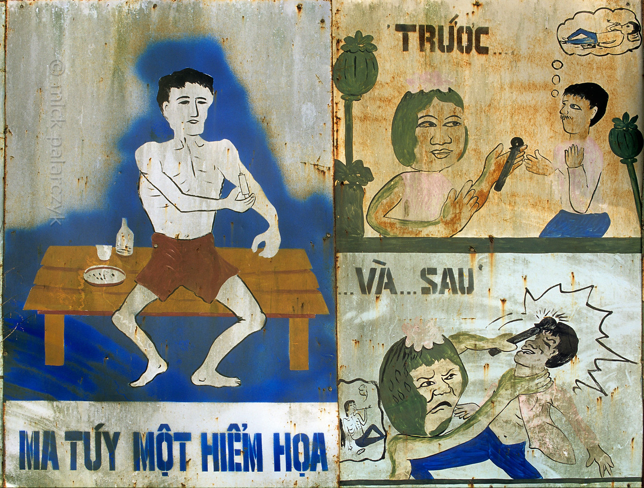"""[VIETNAM.NORTH 21.276] 'Warning against drugs.'  A road sign near Môc Châu reads: """"hard drugs, an exceptional catastrophe. How it begins . .  and ends."""" Photo Mick Palarczyk."""