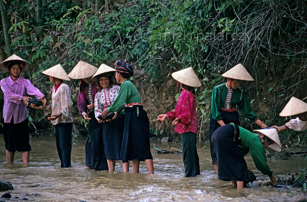 [VIETNAM.NORTH 21.299] 'Handing down boulders.'  	Black Thái tribes women hand down river boulders which are used to build a dam for an irrigation wheel in a tributary of the Nam La River, south of So'n La.. (See image 21.293). Photo Mick Palarczyk.