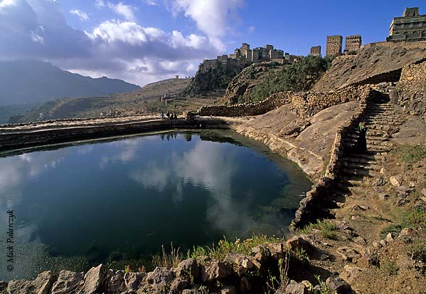 [YEMEN.NORTH 26273] 'Water cistern in Hajjara.'  Near Hajjara, a village in the Jebel Haras mountains southwest of Manakha, a flight of stairs leads down to a cistern which supplies the villagers with water. The cistern receives its water from the rain. Photo Mick Palarczyk.