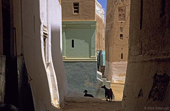 [YEMEN.SOUTH 26575] 'Alley in Shibam-3.'  	An alley in the northwestern part of Shibam, an ancient town in the Wadi Hadhramawt. The width of these alleys is determined by the space that is necessary for the passage of a fully laden camel with wobbling gait. Photo Mick Palarczyk.