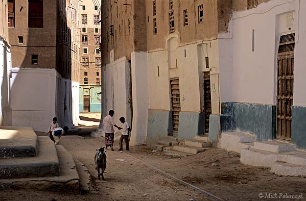 [YEMEN.SOUTH 26578] 'Street in Shibam.'  	A street in the northern part of Shibam, an ancient town in the Wadi Hadhramawt. At ground level the adobe houses are covered with waterproof plaster (nurah) to protect them against damage from rain splash and animals. Photo Mick Palarczyk.