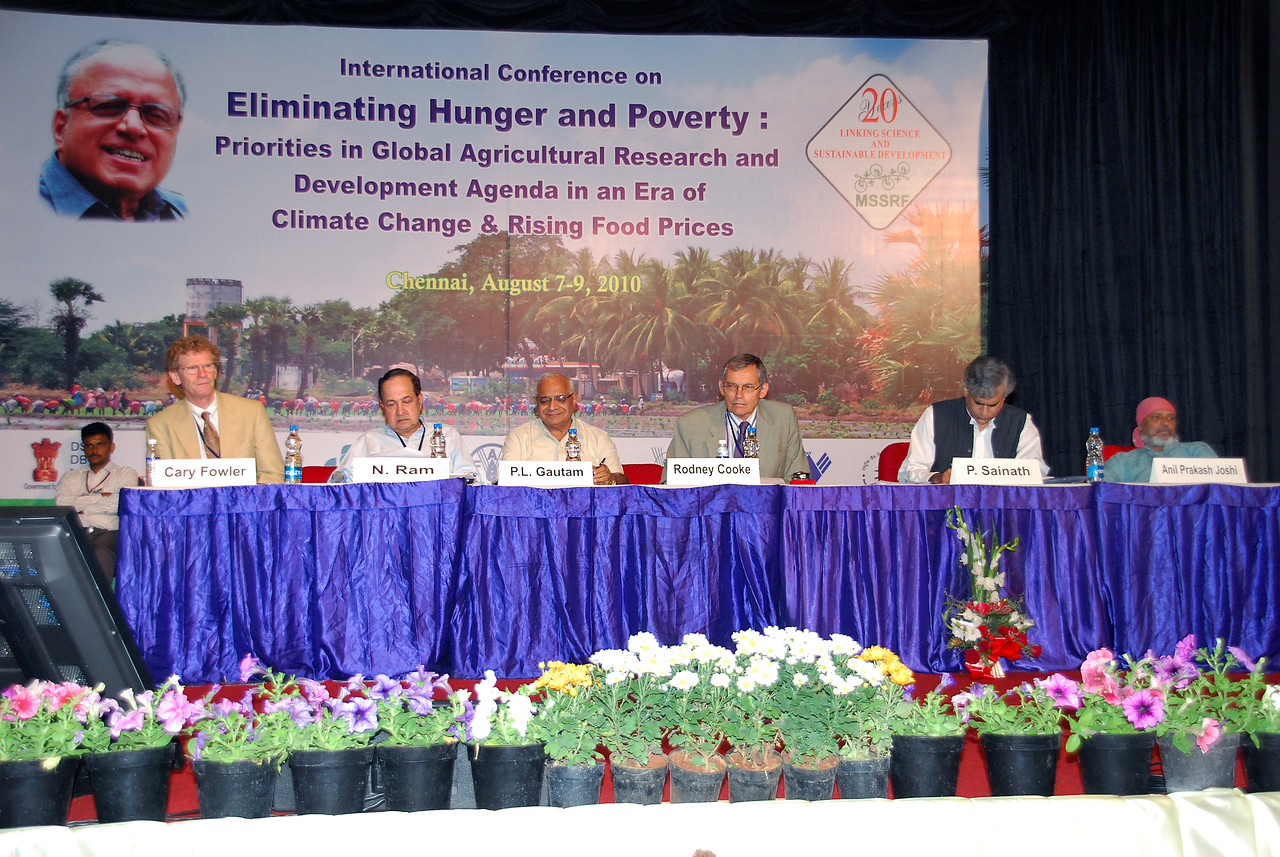"A three days International Conference on ""Eliminating Hunger and Poverty: Priorities in Global Agricultural Research and Development Agenda in an Era of Climate Change and Rising Food Prices"", August 7 - 9, 2010 was Inaugurated at the Chennai Trade Centre on August 7, 2010. This Conference is to mark the 85th Birthday of Prof. M S Swaminathan. Hon'ble Chief Minister of Tamil Nadu Dr Kalaignar M Karunanidhi inaugurated and released the M S Swaminathan Research Foundation's Annual Report for the year 2009-10. Hon'ble Chief Minister of Andhra Pradesh Sri K Rosaiah delivered the special Address. Mr. Ibrahim Didi, Minister of Fisheries and Agriculture, Maldives received the first copy of the Annual Report. <br /> <br /> The backdrop used is a picture shot by me in rural Tamil Nadu."