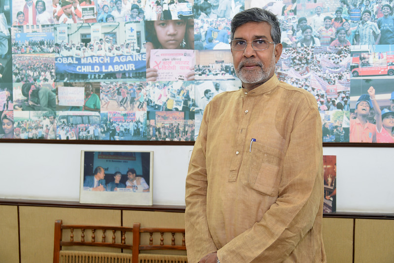 Mr. Kailash Satyarthi, Nobel Peace Prize winner 2014 and Executive Committee Member, BBA and world renowned child rights activist and campaigner at his New Delhi office. He has been the architect of the single largest civil society network for the most exploited children, the Global March Against Child Labor,which is a worldwide coalition of NGOs, Teachers' Union and Trade Unions.<br /> <br /> Bachpan Bachao Andolan (BBA) is India's pioneering child rights organisation working towards the elimination of all forms of exploitation against children and for free and compulsory education of all children. Over the years BBA has rescued thousands of victims of trafficking, slavery and child labour. BBA's intervention strategy on Victims' Assistance is a rigorous exercise ranging from identification of children to rescuing child labourers to repatriating and rehabilitating them at their native villages.<br /> <br /> In addition, to the Global March Against Child Labor, other organizations he has founded and/or led include Bachpan Bachao Andolan, the Global Campaign for Education, and the Rugmark Foundation now known as Goodweave. He is the Chair of another world body International Center on Child Labor and Education (ICCLE) in Washington, D.C. ICCLE is one of the foremost policy institution to bring authentic and abiding southern grassroots perspective in the US policy domain.