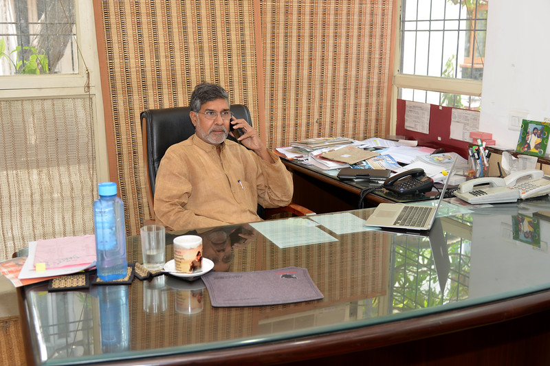 Mr. Kailash Satyarthi, Nobel Peace Prize winner 2014 and Executive Committee Member, BBA and world renowned child rights activist and campaigner at his office in New Delhi.<br /> <br /> Bachpan Bachao Andolan (BBA) is India's pioneering child rights organisation working towards the elimination of all forms of exploitation against children and for free and compulsory education of all children. Over the years BBA has rescued thousands of victims of trafficking, slavery and child labour. BBA's intervention strategy on Victims' Assistance is a rigorous exercise ranging from identification of children to rescuing child labourers to repatriating and rehabilitating them at their native villages.