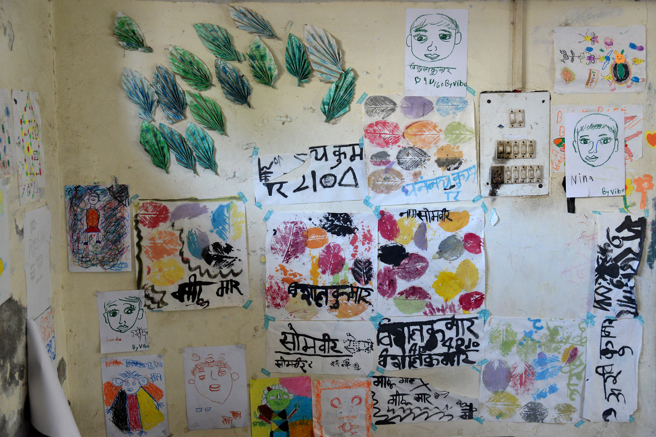 Posters made by the children. Mukti Ashram is a safe haven for rescued child/bonded labourers till they are repatriated to their parents/guardians. Repatriation may take 6 to 8 weeks till the legal procedures are completed. <br /> <br /> Bachpan Bachao Andolan (BBA) is India's pioneering child rights organisation working towards the elimination of all forms of exploitation against children and for free and compulsory education of all children. Over the years BBA has rescued thousands of victims of trafficking, slavery and child labour. Victims are often malnourished, paid meagre wages, if at all, and work extremely long hours in difficult environments.