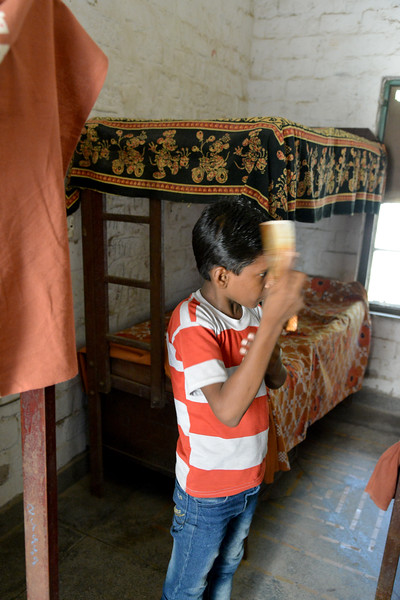 When children arrive at Mukti Ashram, they are given a fresh set of cloths and taught the basic hygienic practices. Mukti Ashram is a safe haven for rescued child/bonded labourers till they are repatriated to their parents/guardians. Repatriation may take 6 to 8 weeks till the legal procedures are completed. <br /> <br /> Bachpan Bachao Andolan (BBA) is India's pioneering child rights organisation working towards the elimination of all forms of exploitation against children and for free and compulsory education of all children. Over the years BBA has rescued thousands of victims of trafficking, slavery and child labour. Victims are often malnourished, paid meagre wages, if at all, and work extremely long hours in difficult environments.