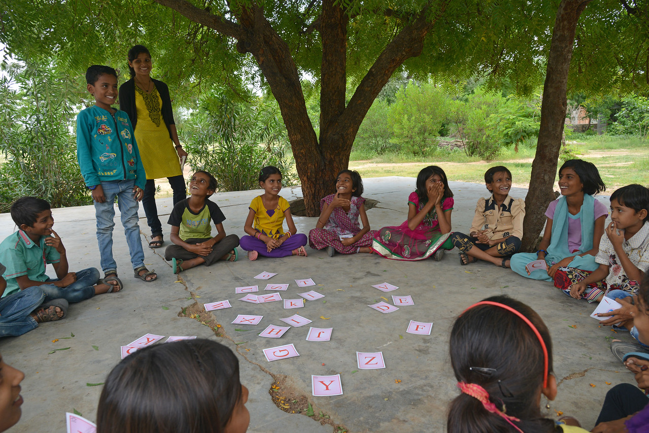 CLT (Creative Learning Technique) being used to teach children at UPS (Upper Primary School), Jamotrara Village, Rajasthan.<br /> <br /> Educate Girls, founded in 2007, is a non-governmental organization that holistically tackles issues at the root of gender inequality in India's educational system. A comprehensive model reforms government schools through community ownership and ensures full enrollment, higher attendance and improved learning outcomes for all girls.