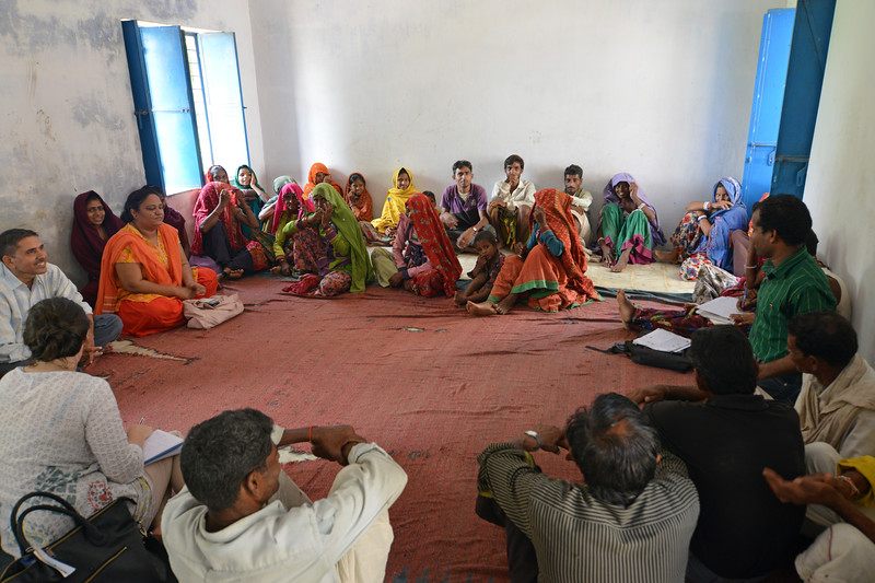Muhalla Meeting (Village Meeting) at Navaji Patel Bhamroli Village, Rajasthan.<br /> <br /> Educate Girls, founded in 2007, is a non-governmental organization that holistically tackles issues at the root of gender inequality in India's educational system. A comprehensive model reforms government schools through community ownership and ensures full enrollment, higher attendance and improved learning outcomes for all girls.