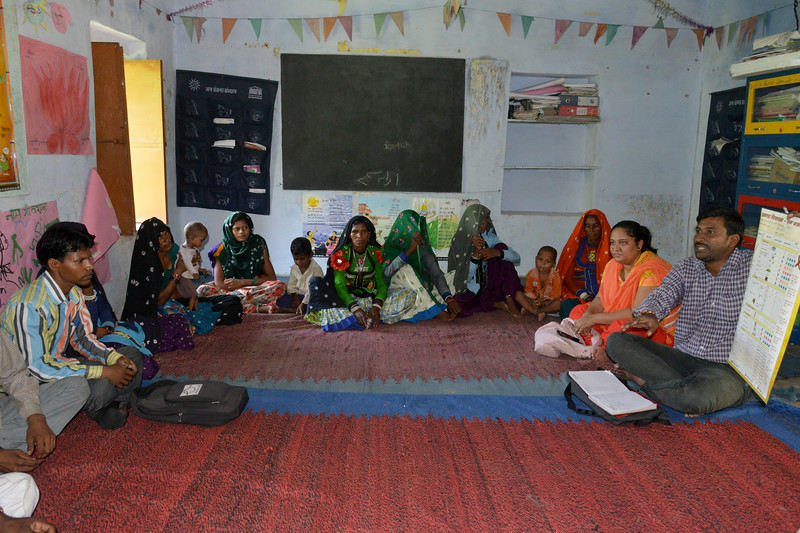 Members of Panchayati Raj having a meeting.<br /> <br /> Educate Girls, founded in 2007, is a non-governmental organization that holistically tackles issues at the root of gender inequality in India's educational system. A comprehensive model reforms government schools through community ownership and ensures full enrollment, higher attendance and improved learning outcomes for all girls.