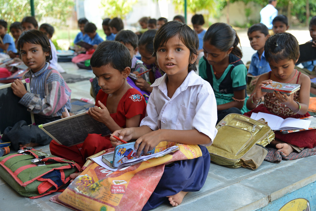 Children at UPS (Upper Primary School), Meghwal Basti, Kalduri Village.<br /> <br /> Educate Girls, founded in 2007, is a non-governmental organization that holistically tackles issues at the root of gender inequality in India's educational system. A comprehensive model reforms government schools through community ownership and ensures full enrollment, higher attendance and improved learning outcomes for all girls.